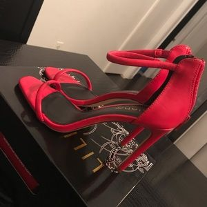 Red Ankle strap heel